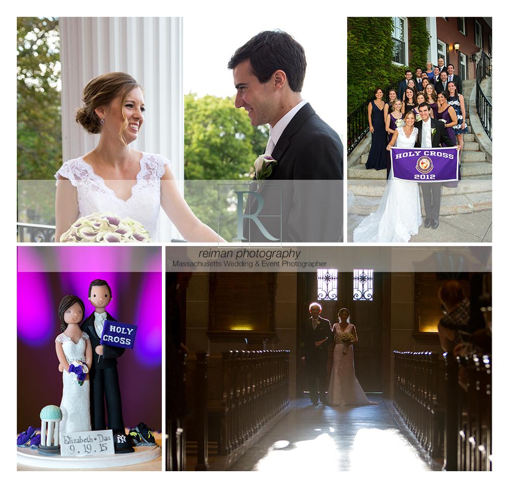 Holy Cross, wedding, summer, purple, Worcester