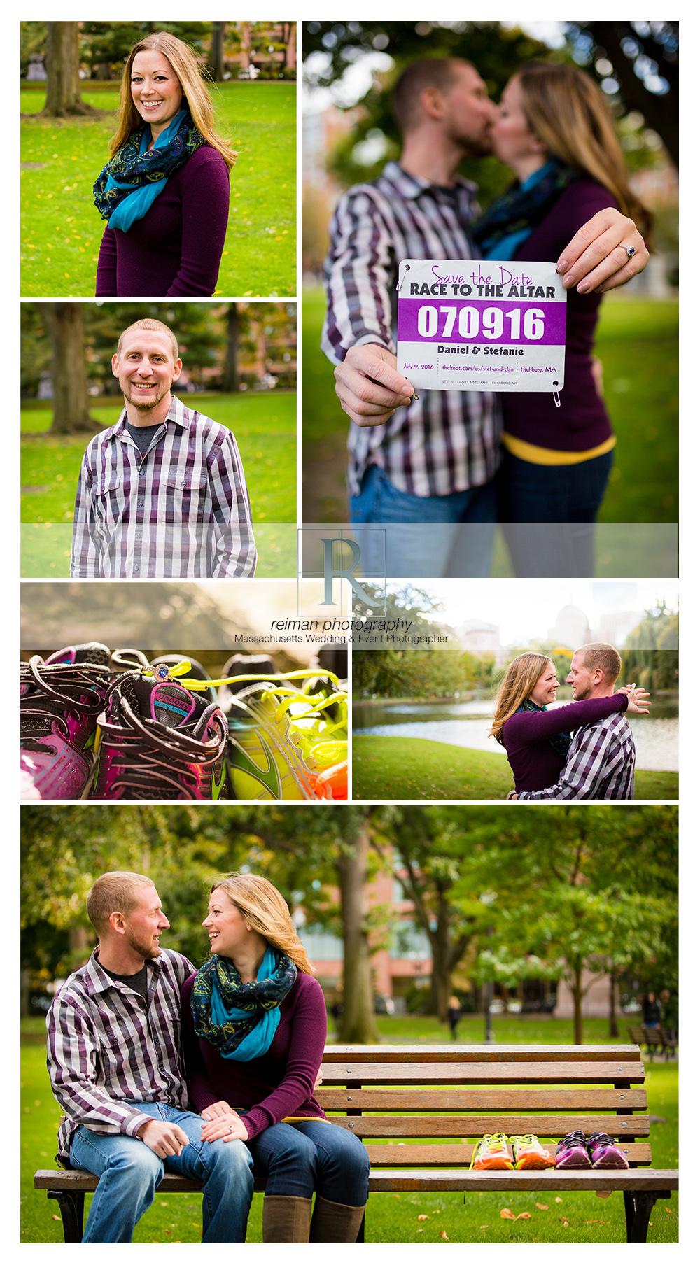 Reiman Photography, engagement, Boston Public Garden, Autumn, Fall, runner, purple, Runners Engagement